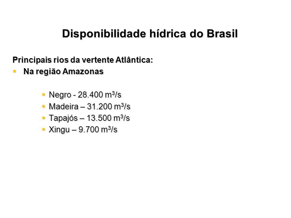 Principais rios da vertente Atlântica: Na região Amazonas Na região Amazonas Negro - 28.400 m 3 /s Negro - 28.400 m 3 /s Madeira – 31.200 m 3 /s Madei