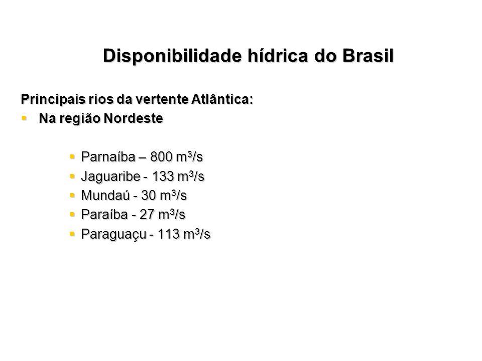 Principais rios da vertente Atlântica: Na região Nordeste Na região Nordeste Parnaíba – 800 m 3 /s Parnaíba – 800 m 3 /s Jaguaribe - 133 m 3 /s Jaguar