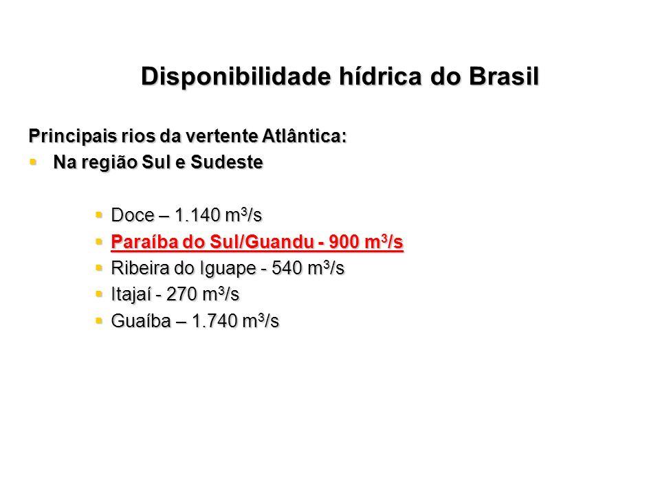 Principais rios da vertente Atlântica: Na região Sul e Sudeste Na região Sul e Sudeste Doce – 1.140 m 3 /s Doce – 1.140 m 3 /s Paraíba do Sul/Guandu -