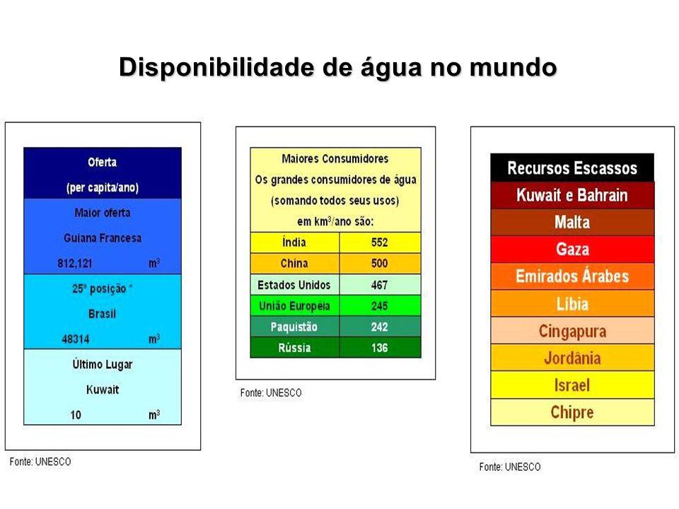 Principais rios da vertente Atlântica: Na região Sul e Sudeste Na região Sul e Sudeste Doce – 1.140 m 3 /s Doce – 1.140 m 3 /s Paraíba do Sul/Guandu - 900 m 3 /s Paraíba do Sul/Guandu - 900 m 3 /s Ribeira do Iguape - 540 m 3 /s Ribeira do Iguape - 540 m 3 /s Itajaí - 270 m 3 /s Itajaí - 270 m 3 /s Guaíba – 1.740 m 3 /s Guaíba – 1.740 m 3 /s Disponibilidade hídrica do Brasil