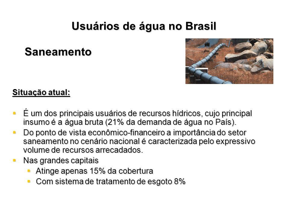 Saneamento Situação atual: É um dos principais usuários de recursos hídricos, cujo principal insumo é a água bruta (21% da demanda de água no País). É