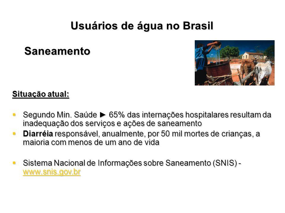 Usuários de água no Brasil Saneamento Situação atual: Segundo Min. Saúde 65% das internações hospitalares resultam da inadequação dos serviços e ações
