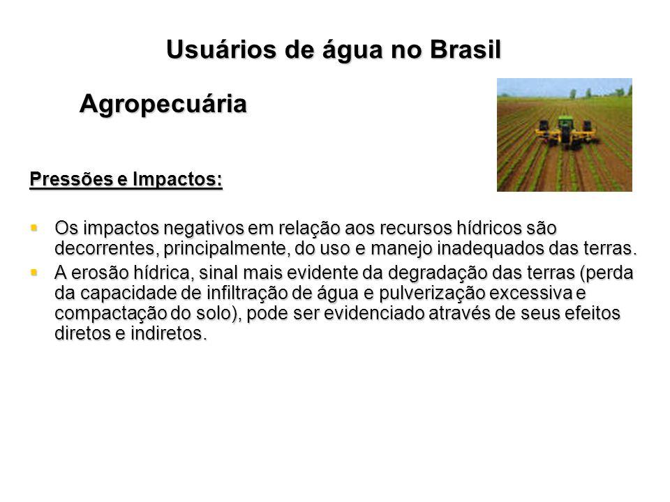 Usuários de água no Brasil Agropecuária Pressões e Impactos: Os impactos negativos em relação aos recursos hídricos são decorrentes, principalmente, d