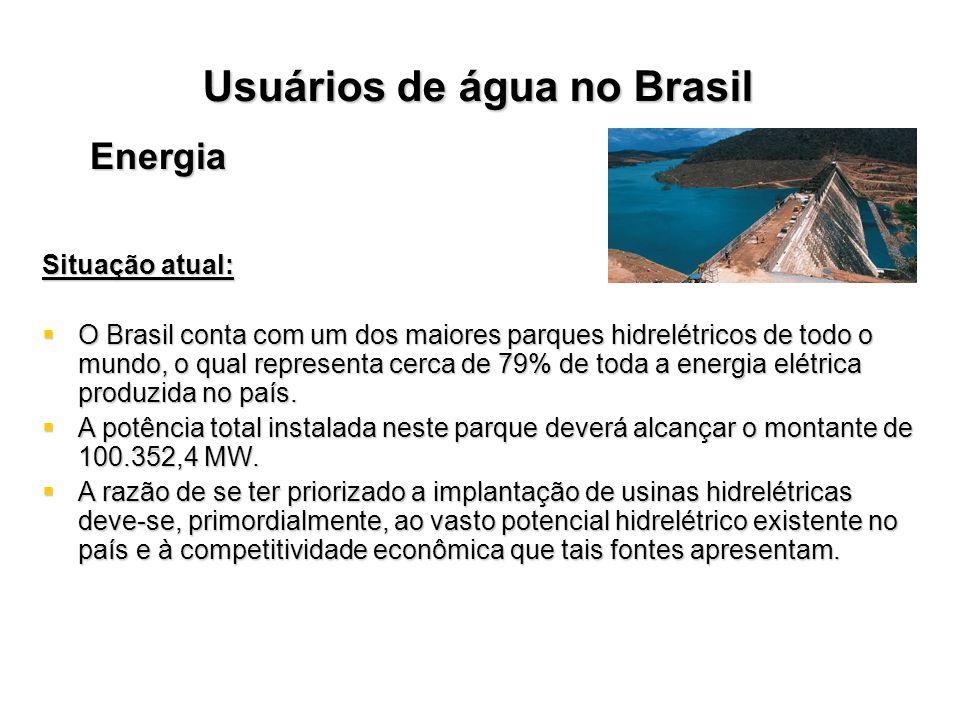 Usuários de água no Brasil Energia Situação atual: O Brasil conta com um dos maiores parques hidrelétricos de todo o mundo, o qual representa cerca de