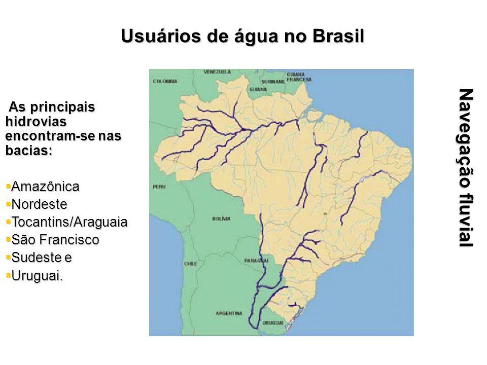 Navegação fluvial As principais hidrovias encontram-se nas bacias: As principais hidrovias encontram-se nas bacias: Amazônica Amazônica Nordeste Norde