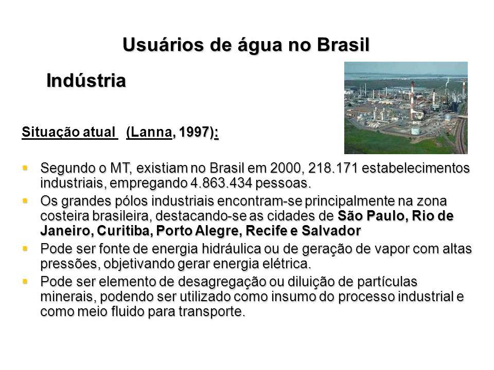 Usuários de água no Brasil Indústria, 1997): Situação atual (Lanna, 1997): Segundo o MT, existiam no Brasil em 2000, 218.171 estabelecimentos industri