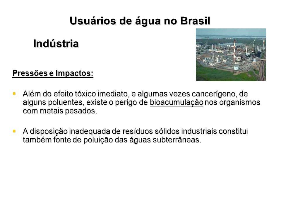 Usuários de água no Brasil Indústria Pressões e Impactos: Além do efeito tóxico imediato, e algumas vezes cancerígeno, de alguns poluentes, existe o p
