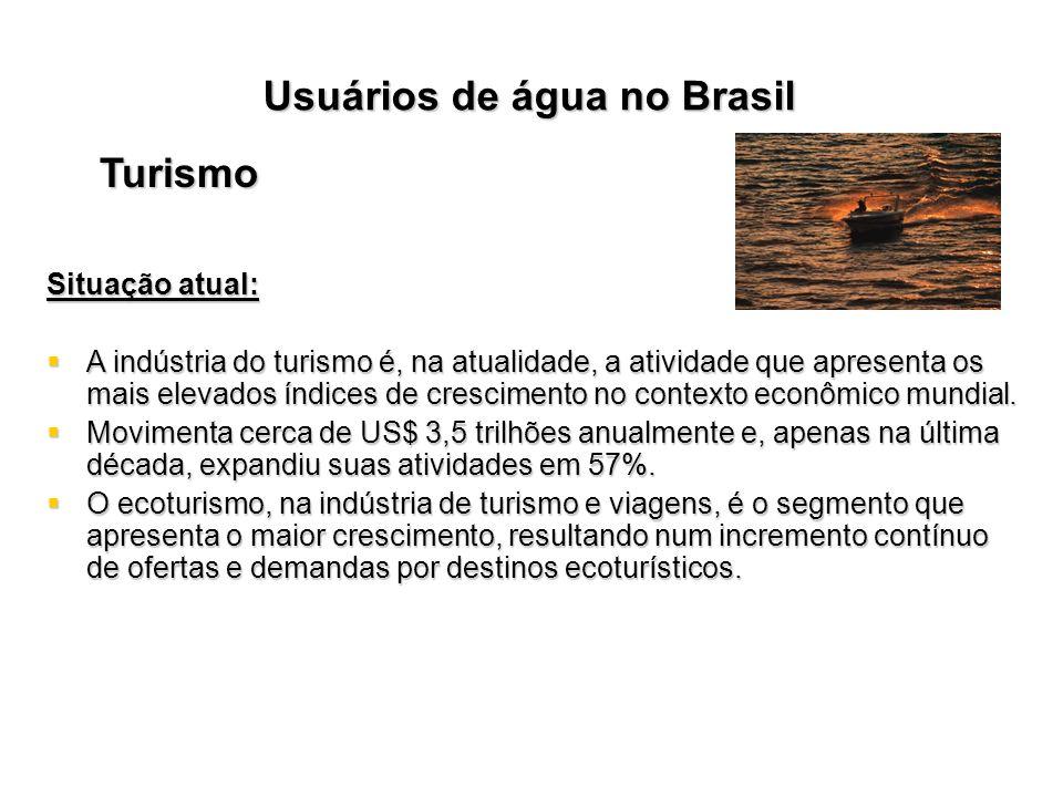 Usuários de água no Brasil Turismo Situação atual: A indústria do turismo é, na atualidade, a atividade que apresenta os mais elevados índices de cres