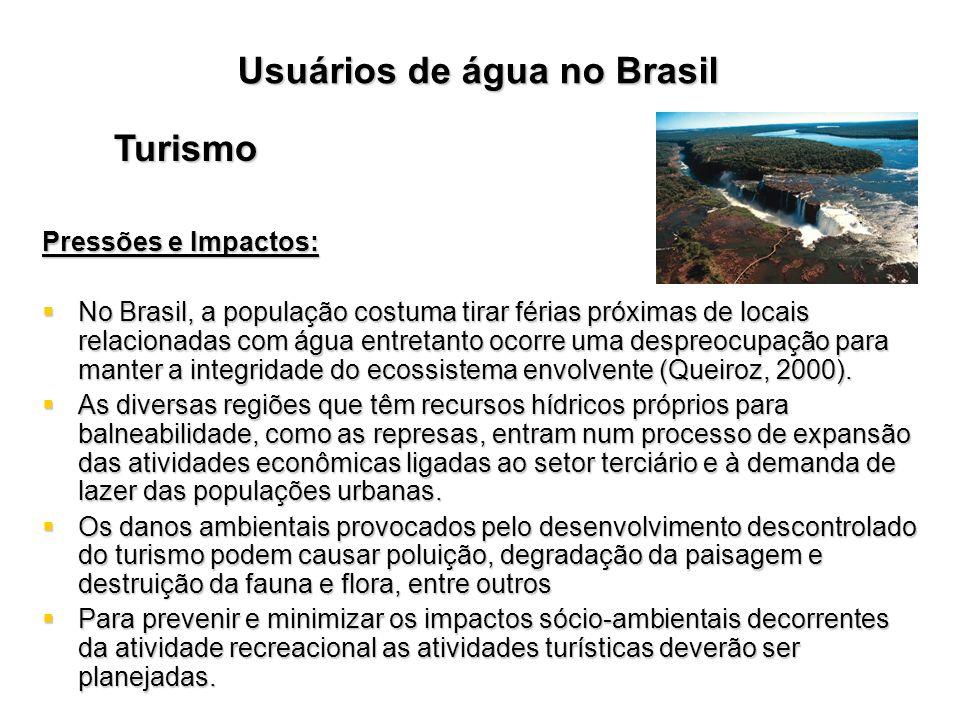 Usuários de água no Brasil Turismo Pressões e Impactos: No Brasil, a população costuma tirar férias próximas de locais relacionadas com água entretant