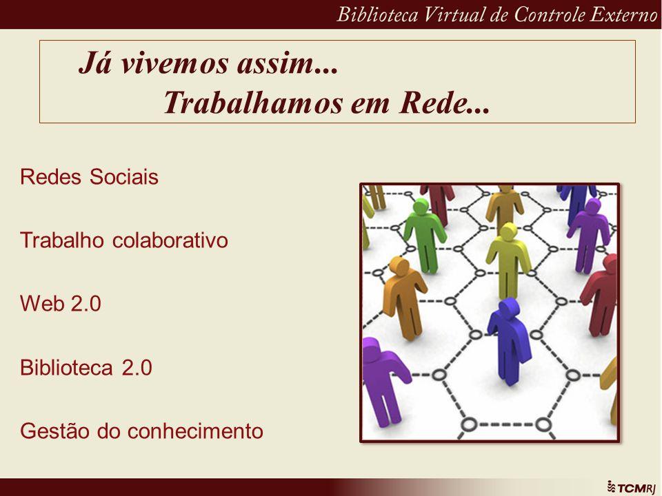 Já vivemos assim... Trabalhamos em Rede... Redes Sociais Trabalho colaborativo Web 2.0 Biblioteca 2.0 Gestão do conhecimento