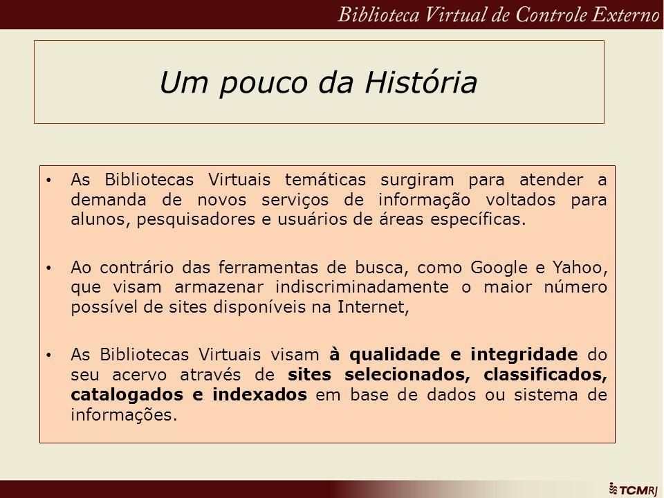 Um pouco da História As Bibliotecas Virtuais temáticas surgiram para atender a demanda de novos serviços de informação voltados para alunos, pesquisad