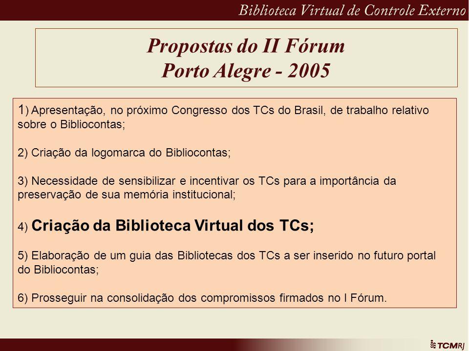 Propostas do II Fórum Porto Alegre - 2005 1 ) Apresentação, no próximo Congresso dos TCs do Brasil, de trabalho relativo sobre o Bibliocontas; 2) Cria