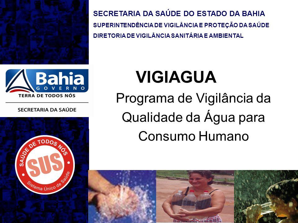 SECRETARIA DA SAÚDE DO ESTADO DA BAHIA SUPERINTENDÊNCIA DE VIGILÂNCIA E PROTEÇÃO DA SAÚDE DIRETORIA DE VIGILÂNCIA SANITÁRIA E AMBIENTAL VIGIAGUA Programa de Vigilância da Qualidade da Água para Consumo Humano