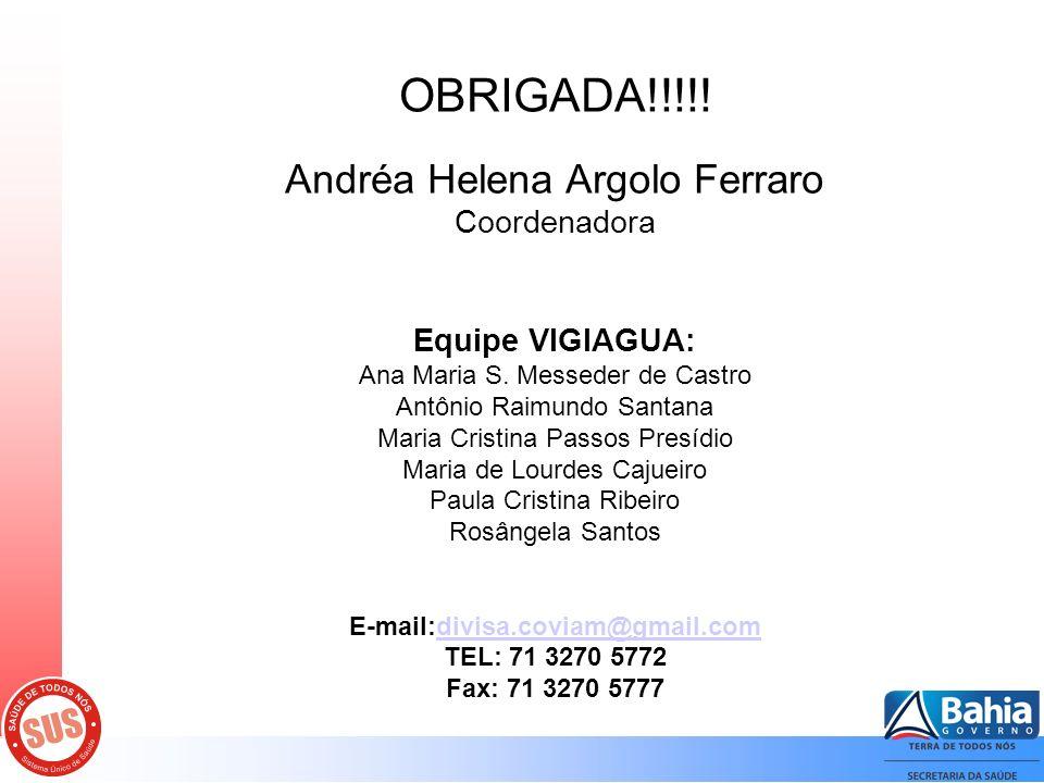 OBRIGADA!!!!. Andréa Helena Argolo Ferraro Coordenadora Equipe VIGIAGUA: Ana Maria S.