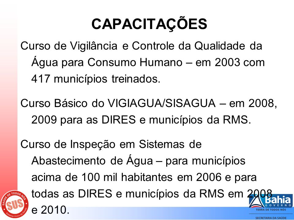 CAPACITAÇÕES Curso de Vigilância e Controle da Qualidade da Água para Consumo Humano – em 2003 com 417 municípios treinados.