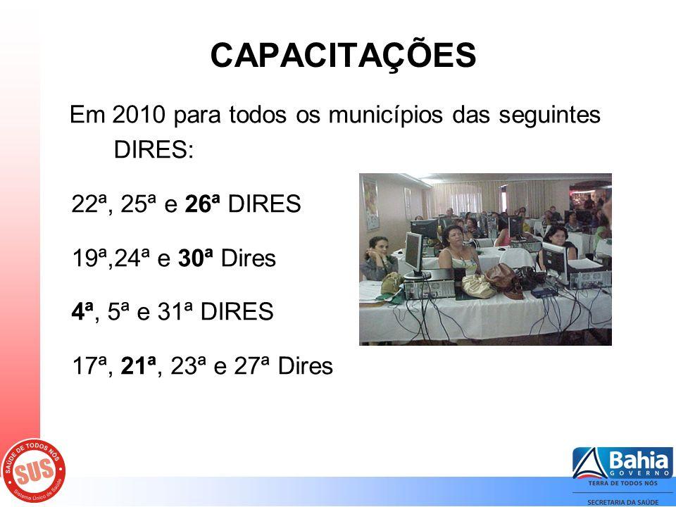 CAPACITAÇÕES Em 2010 para todos os municípios das seguintes DIRES: 22ª, 25ª e 26ª DIRES 19ª,24ª e 30ª Dires 4ª, 5ª e 31ª DIRES 17ª, 21ª, 23ª e 27ª Dires