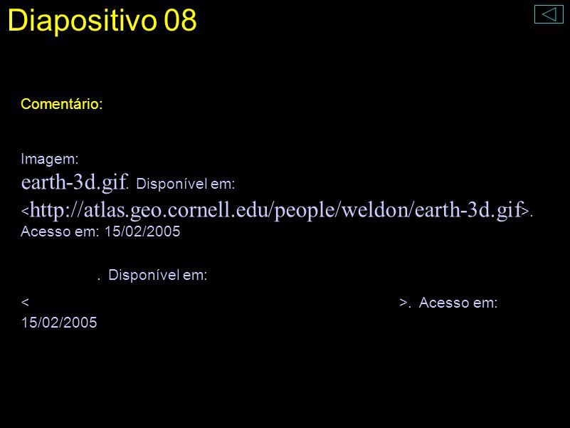 Diapositivo 08 Comentário: Imagem: earth-3d.gif. Disponível em:. Acesso em: 15/02/2005 mars.jpg. Disponível em:. Acesso em: 15/02/2005