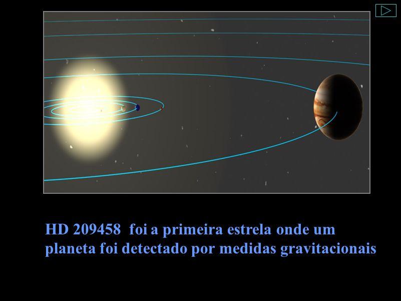 HD 209458 foi a primeira estrela onde um planeta foi detectado por medidas gravitacionais
