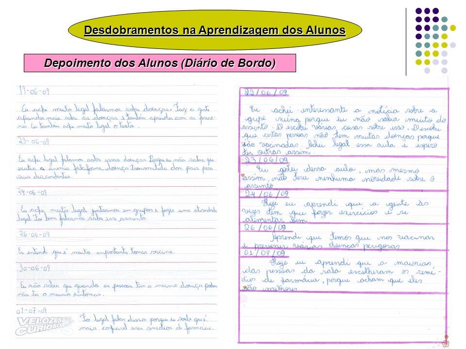 Desdobramentos na Aprendizagem dos Alunos Depoimento dos Alunos (Diário de Bordo)