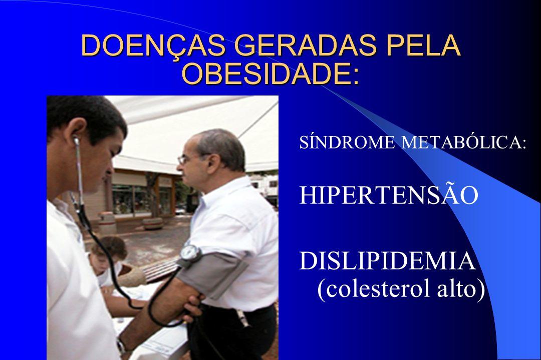 SÍNDROME METABÓLICA: HIPERTENSÃO DISLIPIDEMIA (colesterol alto) DOENÇAS GERADAS PELA OBESIDADE: