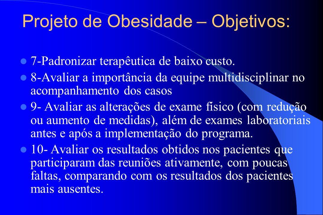 Projeto de Obesidade – Objetivos: 7-Padronizar terapêutica de baixo custo. 8-Avaliar a importância da equipe multidisciplinar no acompanhamento dos ca
