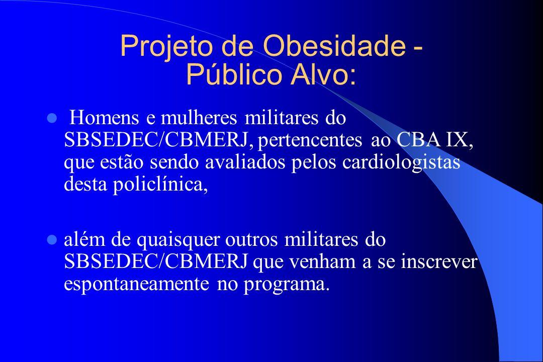 Projeto de Obesidade - Público Alvo: Homens e mulheres militares do SBSEDEC/CBMERJ, pertencentes ao CBA IX, que estão sendo avaliados pelos cardiologi