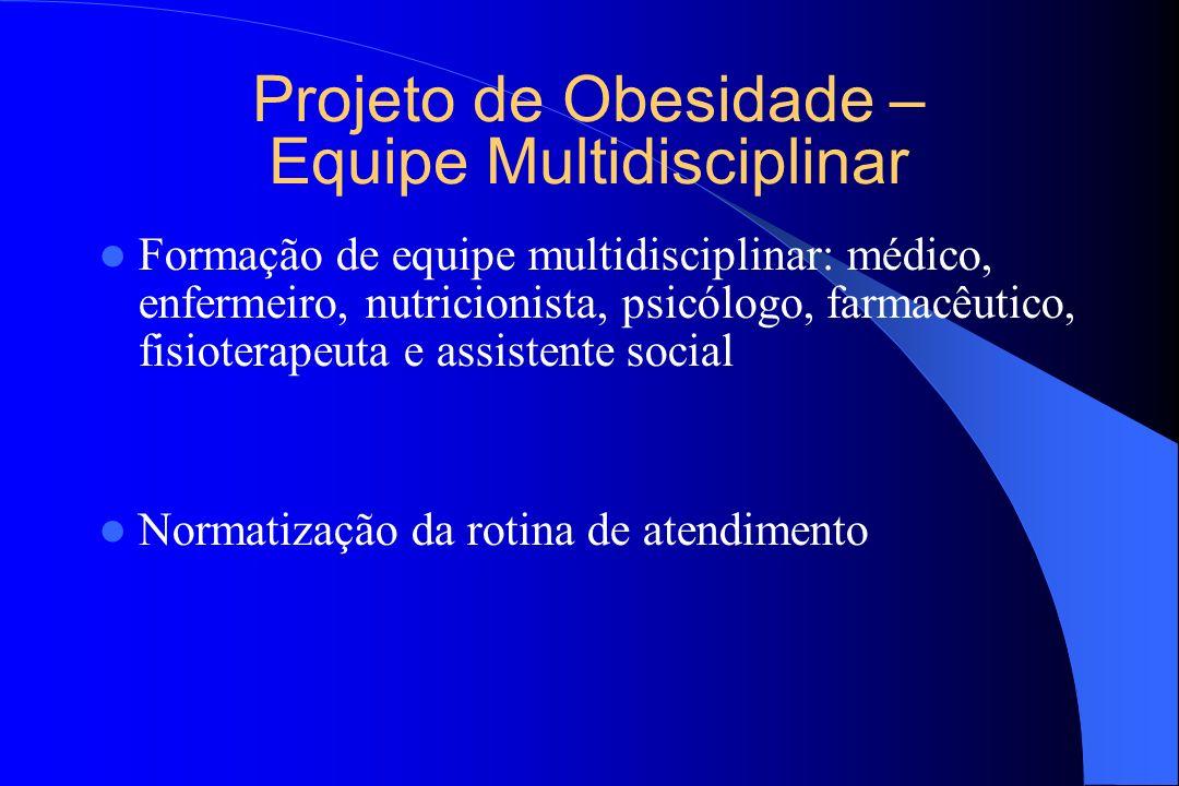 Projeto de Obesidade – Equipe Multidisciplinar Formação de equipe multidisciplinar: médico, enfermeiro, nutricionista, psicólogo, farmacêutico, fisiot