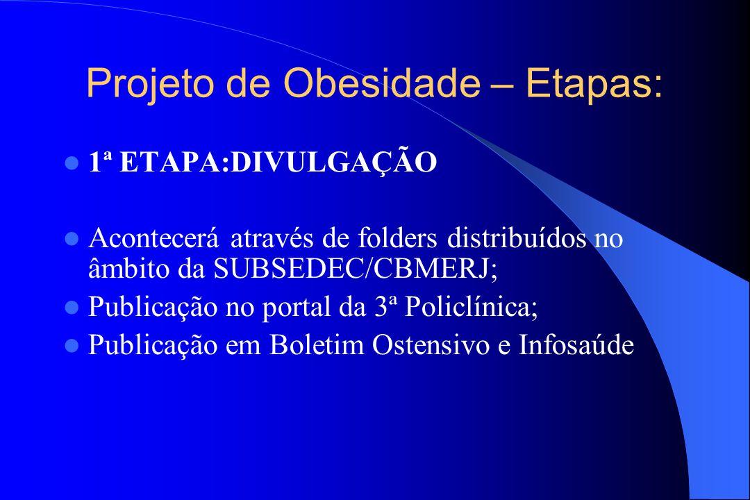 Projeto de Obesidade – Etapas: 1ª ETAPA:DIVULGAÇÃO Acontecerá através de folders distribuídos no âmbito da SUBSEDEC/CBMERJ; Publicação no portal da 3ª