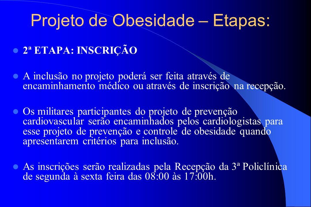 Projeto de Obesidade – Etapas: 2ª ETAPA: INSCRIÇÃO A inclusão no projeto poderá ser feita através de encaminhamento médico ou através de inscrição na