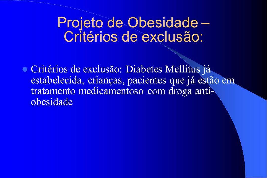 Projeto de Obesidade – Critérios de exclusão: Critérios de exclusão: Diabetes Mellitus já estabelecida, crianças, pacientes que já estão em tratamento