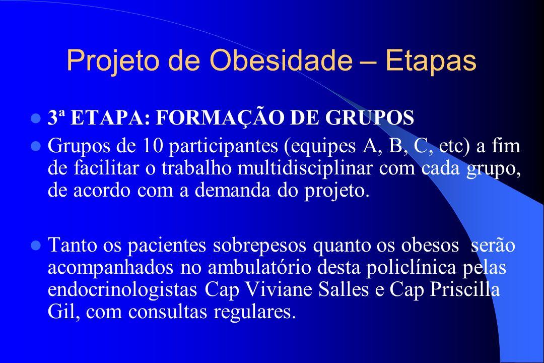 Projeto de Obesidade – Etapas 3ª ETAPA: FORMAÇÃO DE GRUPOS Grupos de 10 participantes (equipes A, B, C, etc) a fim de facilitar o trabalho multidiscip
