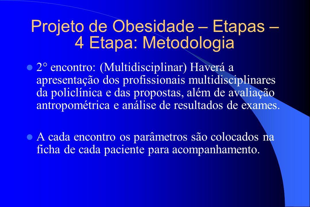 Projeto de Obesidade – Etapas – 4 Etapa: Metodologia 2 encontro: (Multidisciplinar) Haverá a apresentação dos profissionais multidisciplinares da poli