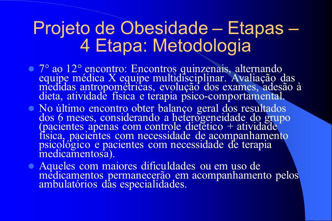 Projeto de Obesidade – Etapas – 4 Etapa: Metodologia 7 ao 12 encontro: Encontros quinzenais, alternando equipe médica X equipe multidisciplinar. Avali
