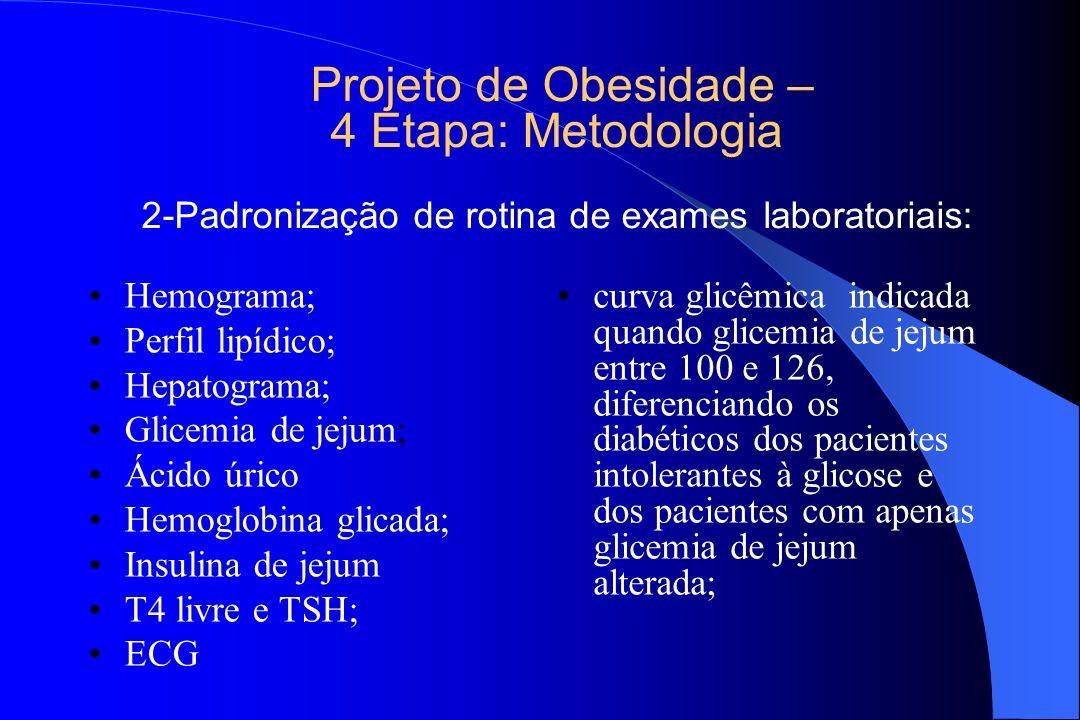 Projeto de Obesidade – 4 Etapa: Metodologia 2-Padronização de rotina de exames laboratoriais: Hemograma; Perfil lipídico; Hepatograma; Glicemia de jej