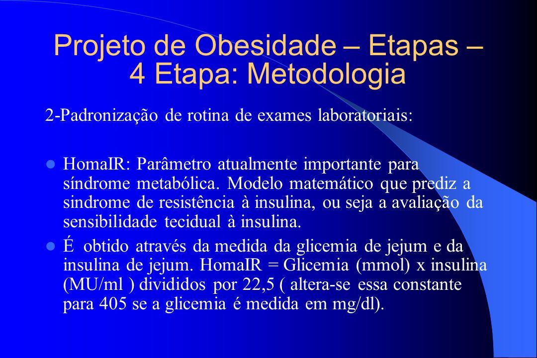 Projeto de Obesidade – Etapas – 4 Etapa: Metodologia 2-Padronização de rotina de exames laboratoriais: HomaIR: Parâmetro atualmente importante para sí