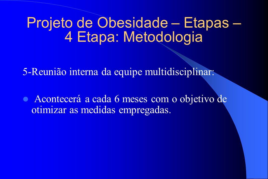 Projeto de Obesidade – Etapas – 4 Etapa: Metodologia 5-Reunião interna da equipe multidisciplinar: Acontecerá a cada 6 meses com o objetivo de otimiza
