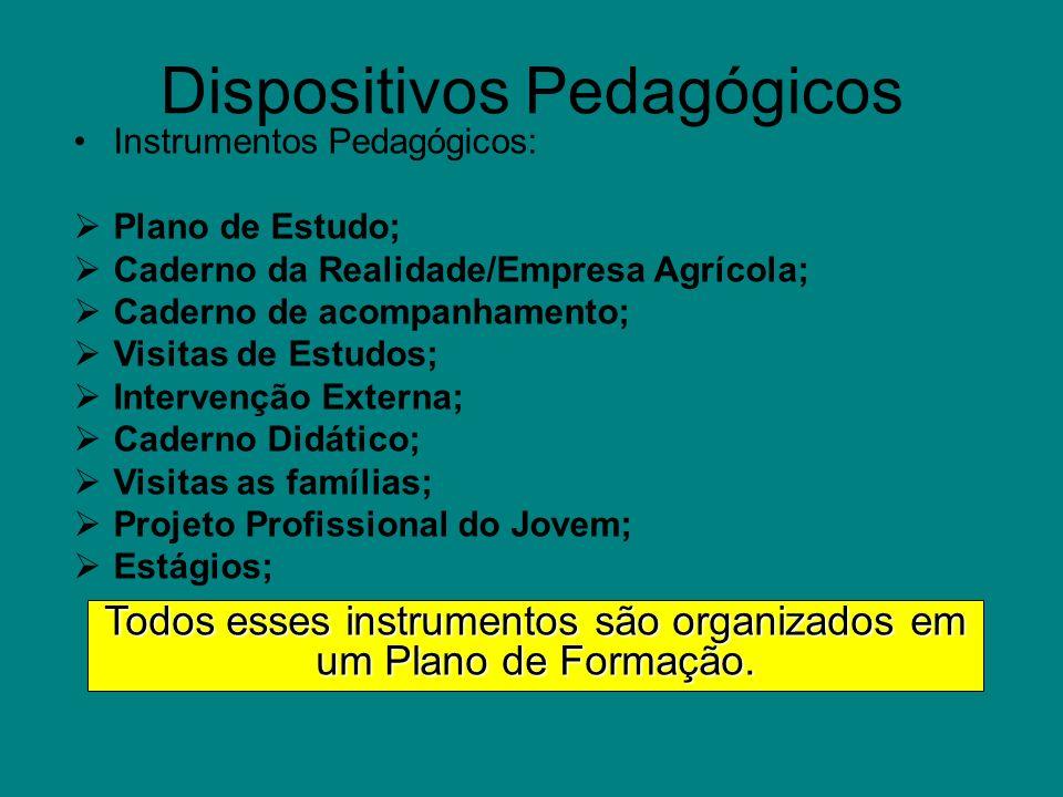 Dispositivos Pedagógicos Instrumentos Pedagógicos: Plano de Estudo; Caderno da Realidade/Empresa Agrícola; Caderno de acompanhamento; Visitas de Estud