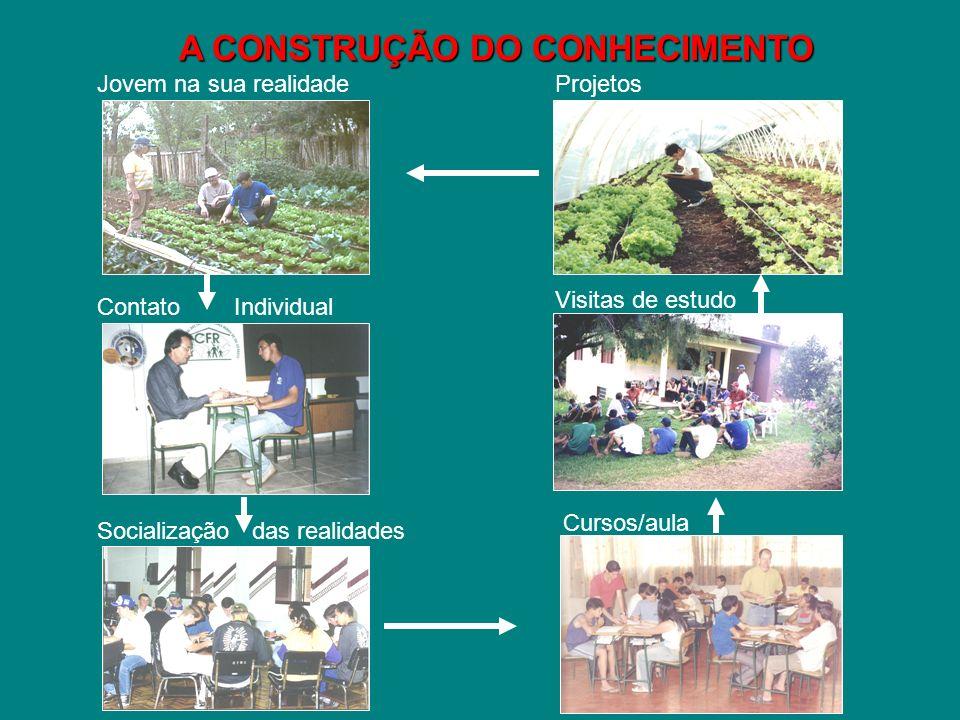 A CONSTRUÇÃO DO CONHECIMENTO Jovem na sua realidade Visitas de estudo Contato Individual Socialização das realidades Projetos Cursos/aula