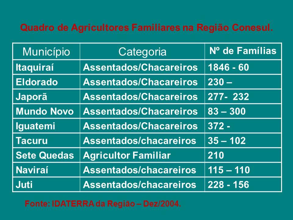 Quadro de Agricultores Familiares na Região Conesul. MunicípioCategoria Nº de Famílias ItaquiraíAssentados/Chacareiros1846 - 60 EldoradoAssentados/Cha