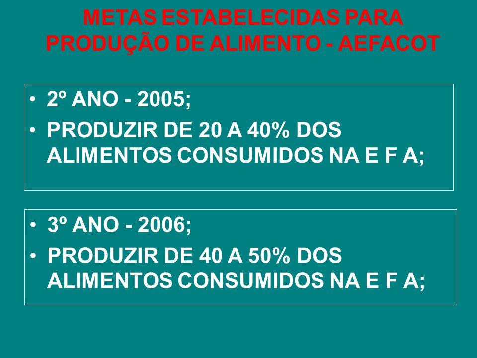 METAS ESTABELECIDAS PARA PRODUÇÃO DE ALIMENTO - AEFACOT 2º ANO - 2005; PRODUZIR DE 20 A 40% DOS ALIMENTOS CONSUMIDOS NA E F A; 3º ANO - 2006; PRODUZIR