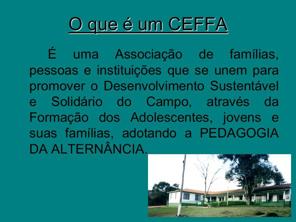 O que é um CEFFA É uma Associação de famílias, pessoas e instituições que se unem para promover o Desenvolvimento Sustentável e Solidário do Campo, at