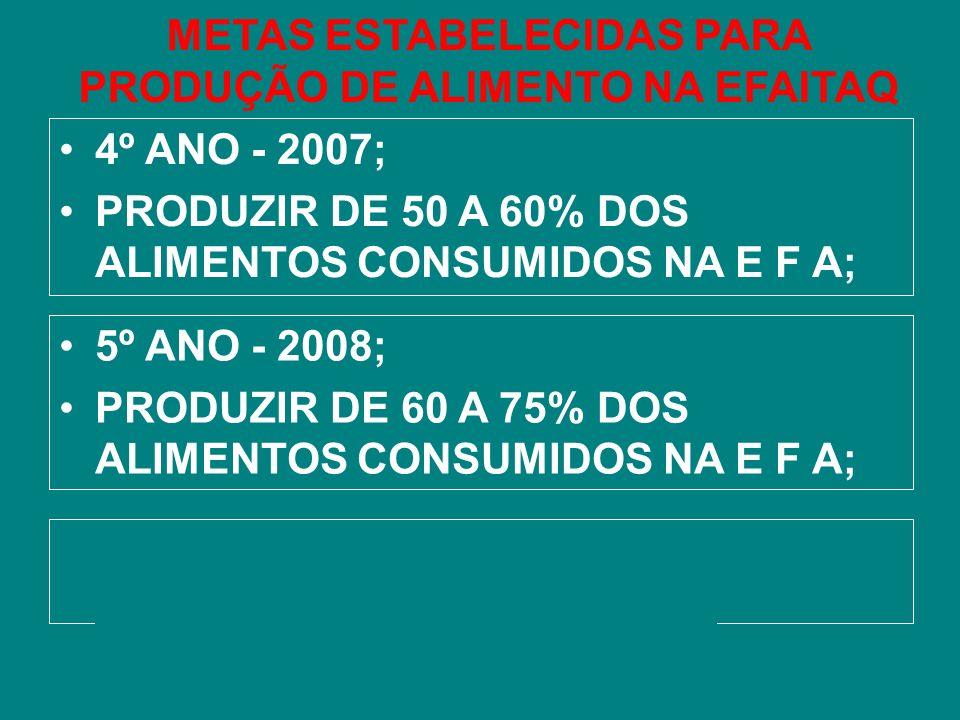 METAS ESTABELECIDAS PARA PRODUÇÃO DE ALIMENTO NA EFAITAQ 4º ANO - 2007; PRODUZIR DE 50 A 60% DOS ALIMENTOS CONSUMIDOS NA E F A; 5º ANO - 2008; PRODUZI