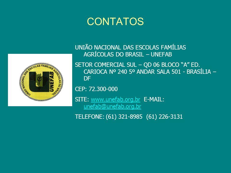 CONTATOS UNIÃO NACIONAL DAS ESCOLAS FAMÍLIAS AGRÍCOLAS DO BRASIL – UNEFAB SETOR COMERCIAL SUL – QD 06 BLOCO A ED. CARIOCA Nº 240 5º ANDAR SALA 501 - B