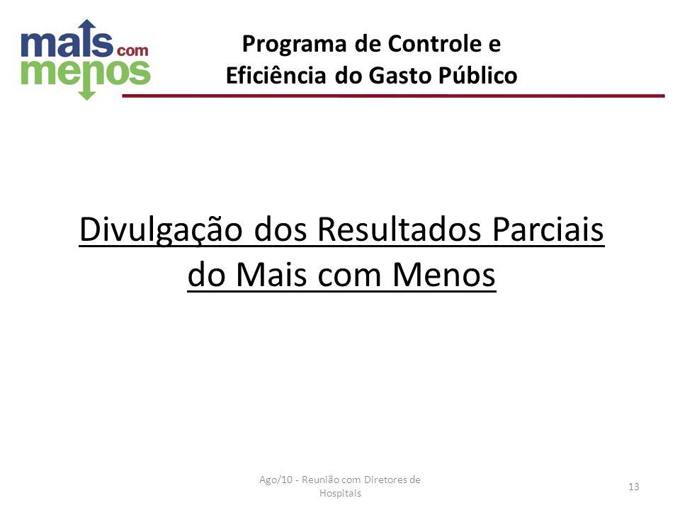 Divulgação dos Resultados Parciais do Mais com Menos Programa de Controle e Eficiência do Gasto Público Ago/10 - Reunião com Diretores de Hospitais 13