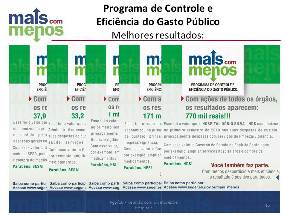 Programa de Controle e Eficiência do Gasto Público Melhores resultados: Ago/10 - Reunião com Diretores de Hospitais 16
