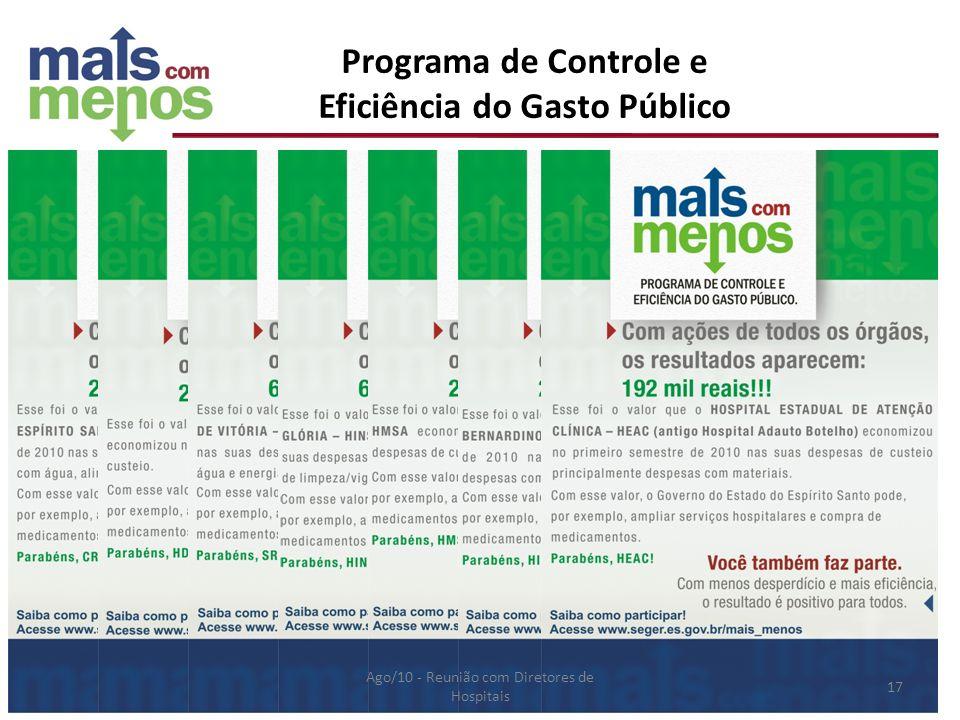 Programa de Controle e Eficiência do Gasto Público Ago/10 - Reunião com Diretores de Hospitais 17