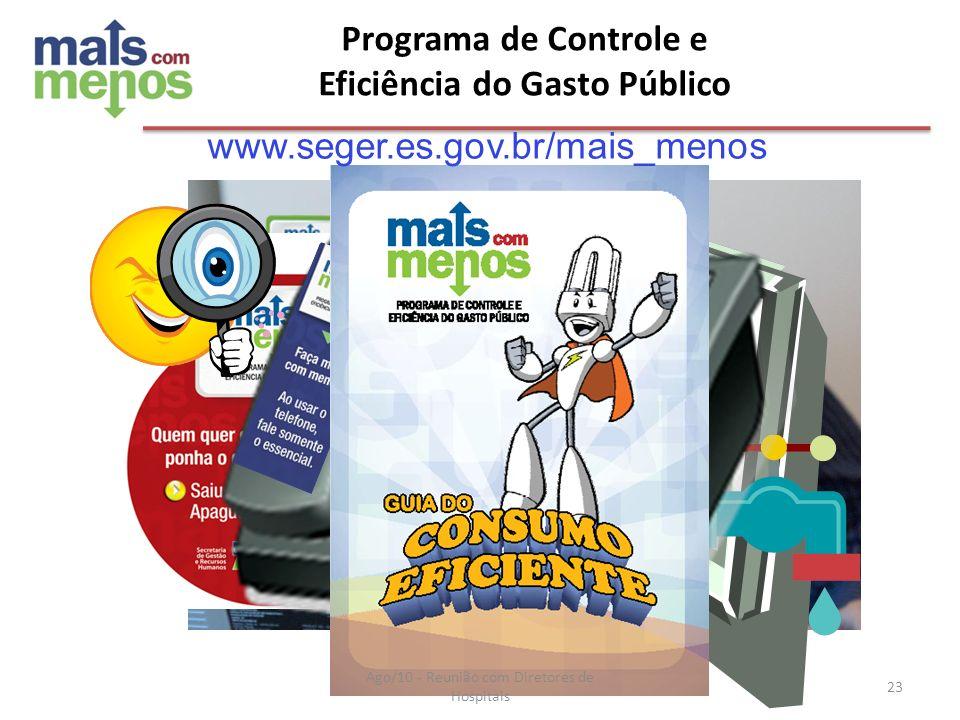 Programa de Controle e Eficiência do Gasto Público www.seger.es.gov.br/mais_menos Ago/10 - Reunião com Diretores de Hospitais 23