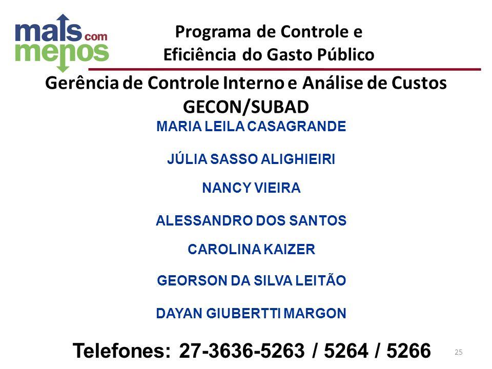 Gerência de Controle Interno e Análise de Custos GECON/SUBAD MARIA LEILA CASAGRANDE JÚLIA SASSO ALIGHIEIRI NANCY VIEIRA ALESSANDRO DOS SANTOS CAROLINA