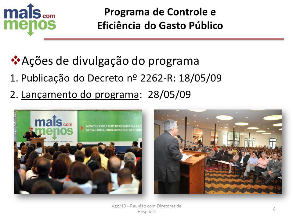 Ações de divulgação do programa 1.Publicação do Decreto nº 2262-R: 18/05/09 2.Lançamento do programa: 28/05/09 Programa de Controle e Eficiência do Ga
