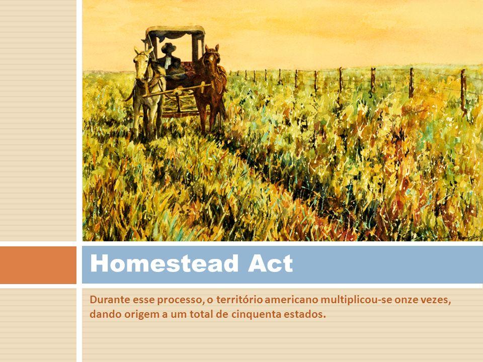 Durante esse processo, o território americano multiplicou-se onze vezes, dando origem a um total de cinquenta estados. Homestead Act